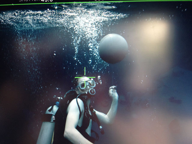 Shooting gray balls under water for AT&T