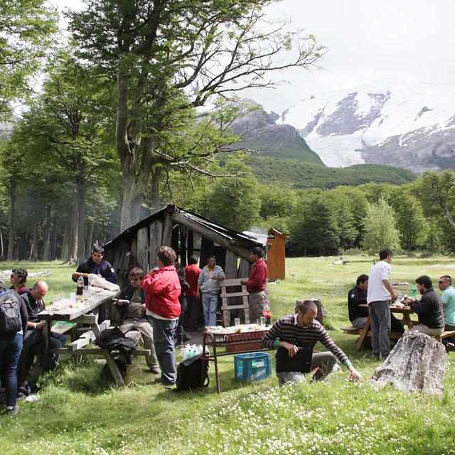 Basecamp e foot of Cerro Torres in Patagonia. Castrol oot